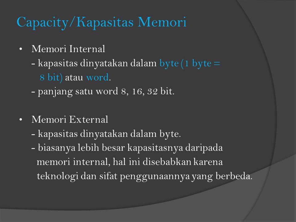 Capacity/Kapasitas Memori Memori Internal - kapasitas dinyatakan dalam byte (1 byte = 8 bit) atau word. - panjang satu word 8, 16, 32 bit. Memori Exte