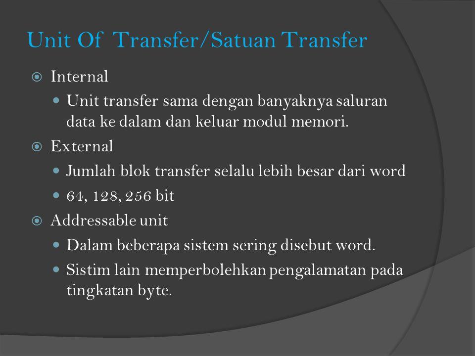 Unit Of Transfer/Satuan Transfer  Internal Unit transfer sama dengan banyaknya saluran data ke dalam dan keluar modul memori.  External Jumlah blok