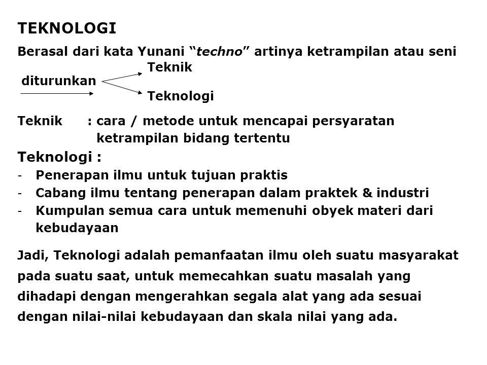 Dalam alih teknologi diperhatikan: a.