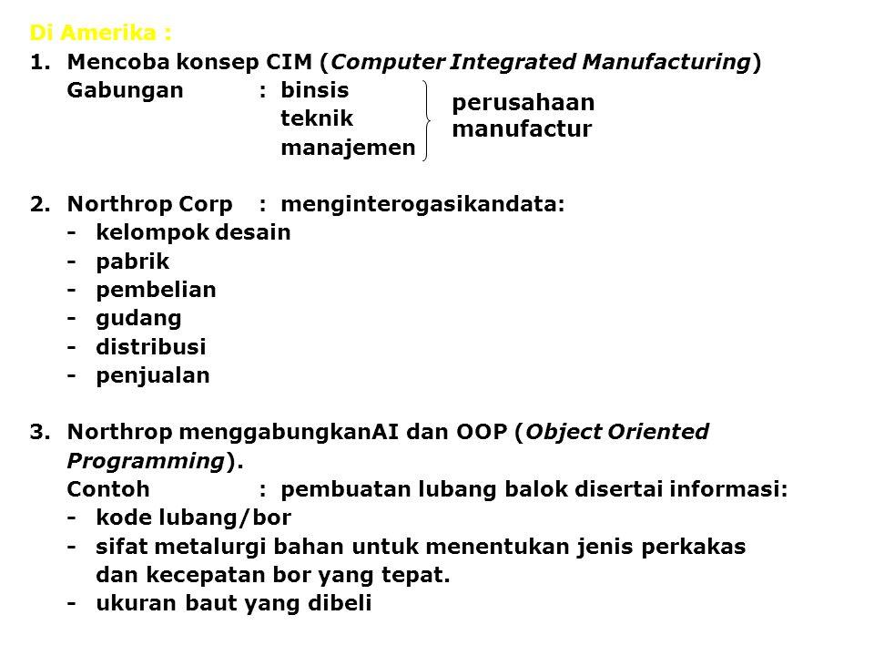 Di Amerika : 1.Mencoba konsep CIM (Computer Integrated Manufacturing) Gabungan:binsis teknik manajemen 2.Northrop Corp:menginterogasikandata: -kelompo