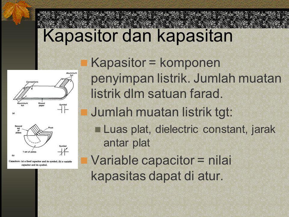 Kapasitor dan kapasitan Kapasitor = komponen penyimpan listrik.