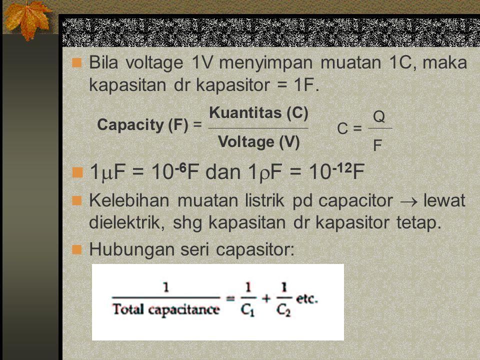 Bila voltage 1V menyimpan muatan 1C, maka kapasitan dr kapasitor = 1F.