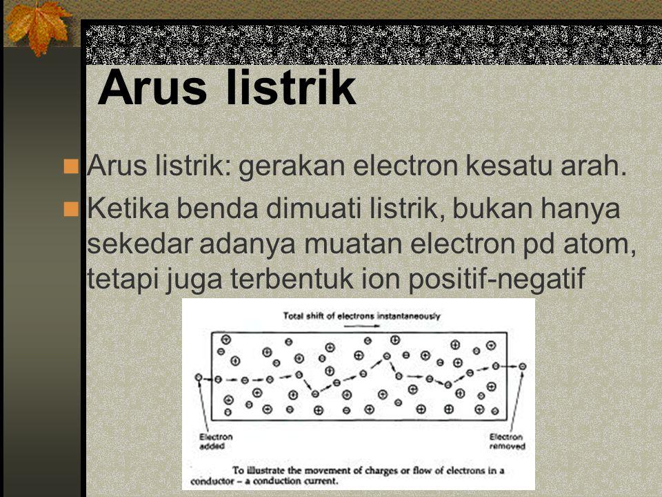 Konduktor dan insulator Konduktor: material mudah dialiri arus listrik (grk elektron), memiliki elektron bebas.