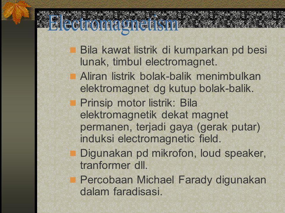 Bila kawat listrik di kumparkan pd besi lunak, timbul electromagnet.