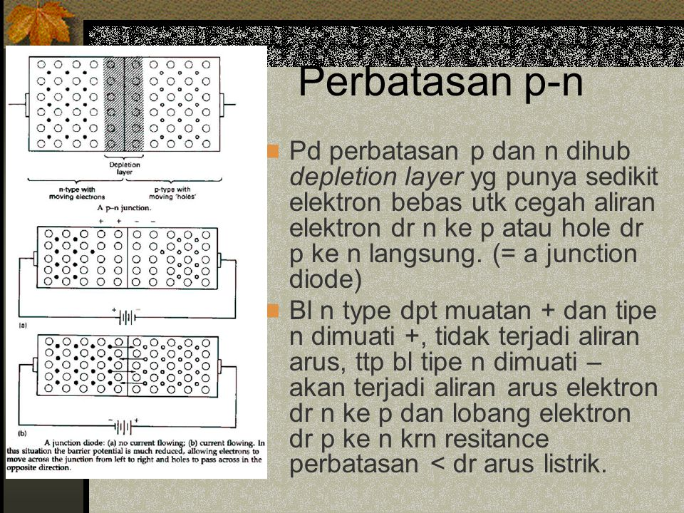 Perbatasan p-n Pd perbatasan p dan n dihub depletion layer yg punya sedikit elektron bebas utk cegah aliran elektron dr n ke p atau hole dr p ke n langsung.