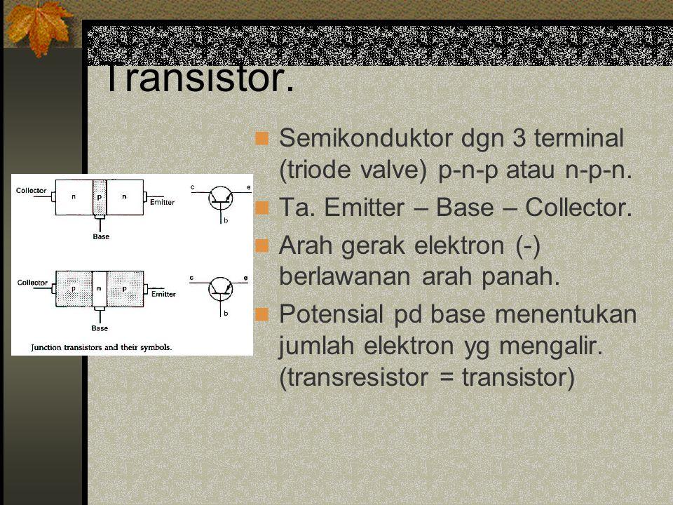 Transistor.Semikonduktor dgn 3 terminal (triode valve) p-n-p atau n-p-n.