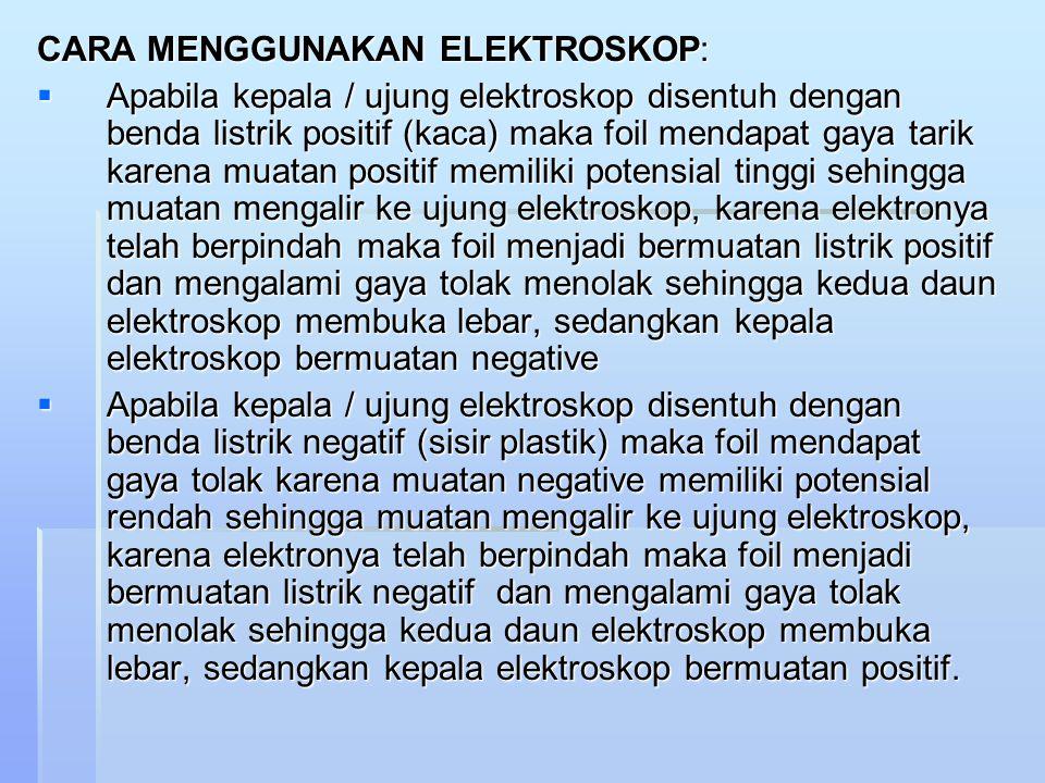 CARA MENGGUNAKAN ELEKTROSKOP: AAAApabila kepala / ujung elektroskop disentuh dengan benda listrik positif (kaca) maka foil mendapat gaya tarik karena muatan positif memiliki potensial tinggi sehingga muatan mengalir ke ujung elektroskop, karena elektronya telah berpindah maka foil menjadi bermuatan listrik positif dan mengalami gaya tolak menolak sehingga kedua daun elektroskop membuka lebar, sedangkan kepala elektroskop bermuatan negative AAAApabila kepala / ujung elektroskop disentuh dengan benda listrik negatif (sisir plastik) maka foil mendapat gaya tolak karena muatan negative memiliki potensial rendah sehingga muatan mengalir ke ujung elektroskop, karena elektronya telah berpindah maka foil menjadi bermuatan listrik negatif dan mengalami gaya tolak menolak sehingga kedua daun elektroskop membuka lebar, sedangkan kepala elektroskop bermuatan positif.