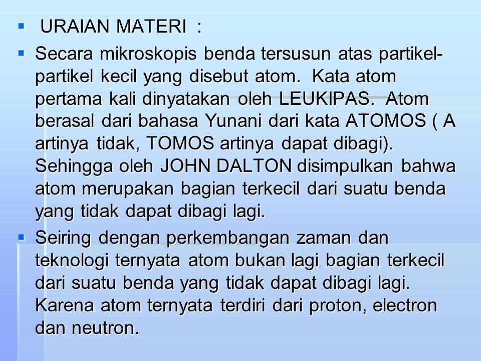  URAIAN MATERI :  Secara mikroskopis benda tersusun atas partikel- partikel kecil yang disebut atom.