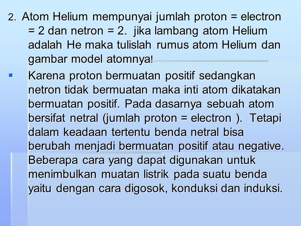 2. Atom Helium mempunyai jumlah proton = electron = 2 dan netron = 2. jika lambang atom Helium adalah He maka tulislah rumus atom Helium dan gambar mo
