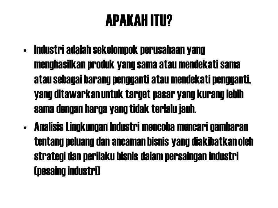 APAKAH ITU? Industri adalah sekelompok perusahaan yang menghasilkan produk yang sama atau mendekati sama atau sebagai barang pengganti atau mendekati