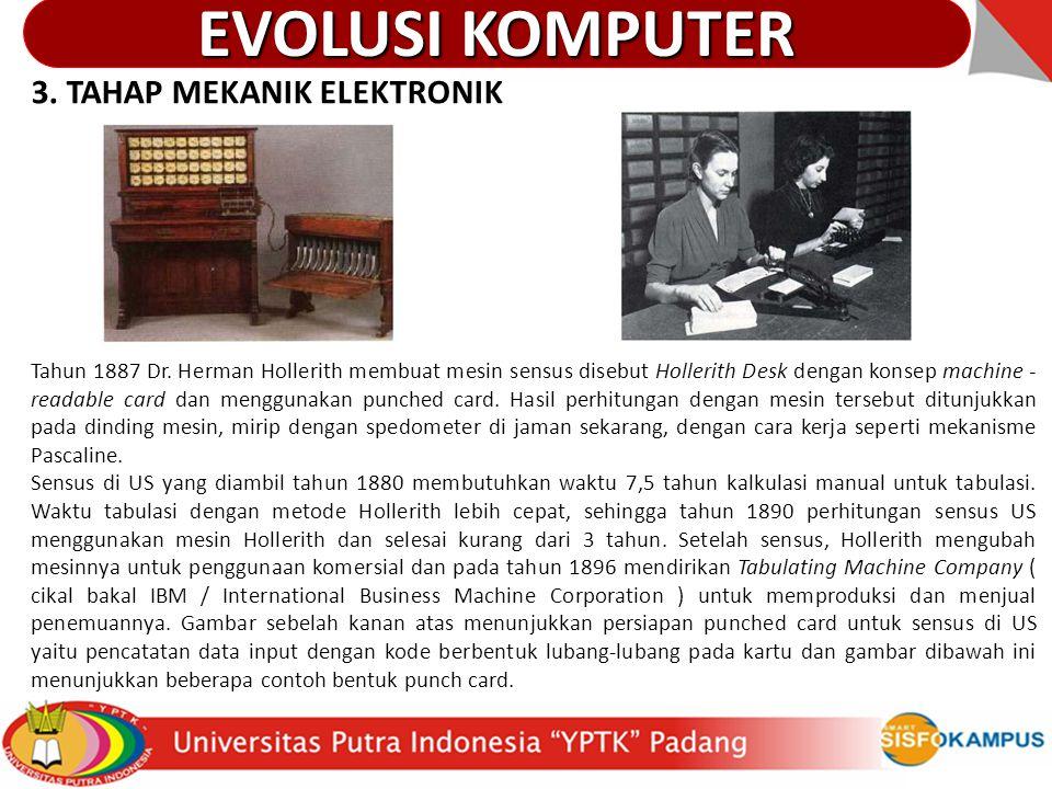 3. TAHAP MEKANIK ELEKTRONIK Tahun 1887 Dr. Herman Hollerith membuat mesin sensus disebut Hollerith Desk dengan konsep machine - readable card dan meng