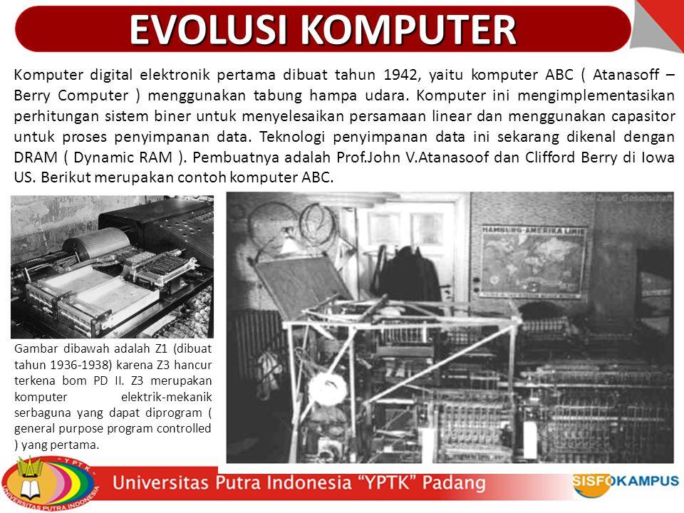 Komputer digital elektronik pertama dibuat tahun 1942, yaitu komputer ABC ( Atanasoff – Berry Computer ) menggunakan tabung hampa udara. Komputer ini