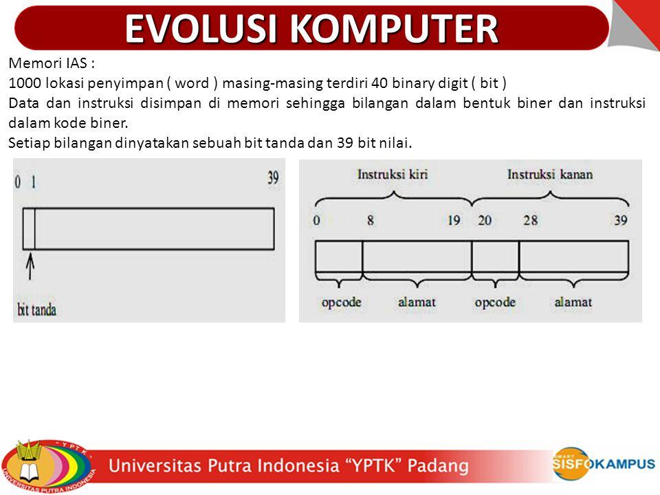 Memori IAS : 1000 lokasi penyimpan ( word ) masing-masing terdiri 40 binary digit ( bit ) Data dan instruksi disimpan di memori sehingga bilangan dala