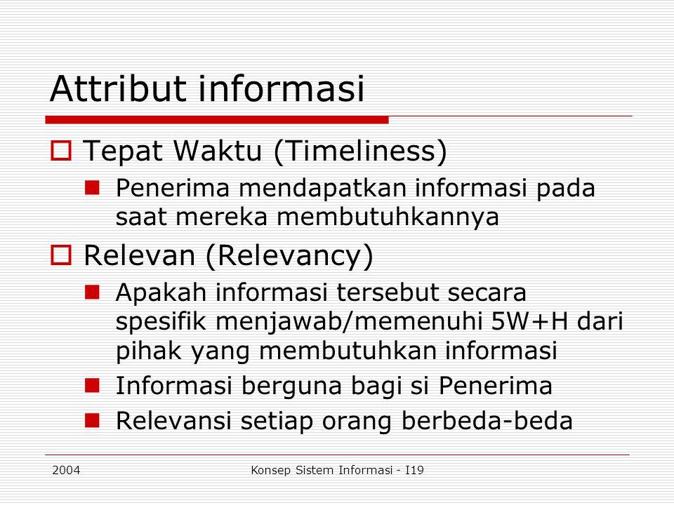 2004Konsep Sistem Informasi - I19 Attribut informasi  Tepat Waktu (Timeliness) Penerima mendapatkan informasi pada saat mereka membutuhkannya  Relev