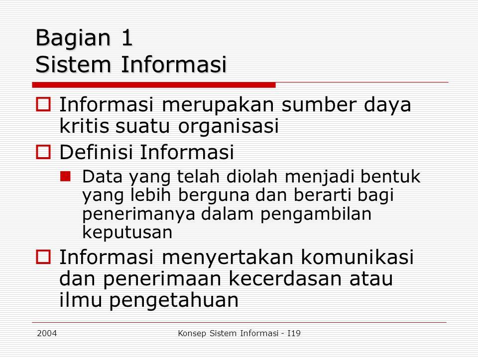 2004Konsep Sistem Informasi - I19 Input  Pertimbangan kunci yang harus diperhatikan dalam pemasukkan data adalah: Data identification, menentukan segala sesuatu yang berhubungan dengan data yang diperlukan Layout, tata letak data saat input Timing, waktu yang tepat untuk memasukkan data ke dalam sistem