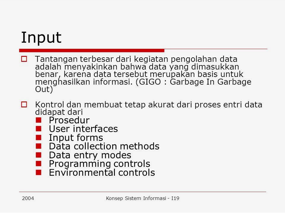 2004Konsep Sistem Informasi - I19 Input  Tantangan terbesar dari kegiatan pengolahan data adalah menyakinkan bahwa data yang dimasukkan benar, karena