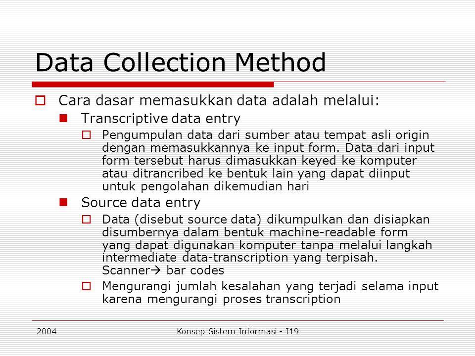2004Konsep Sistem Informasi - I19 Data Collection Method  Cara dasar memasukkan data adalah melalui: Transcriptive data entry  Pengumpulan data dari