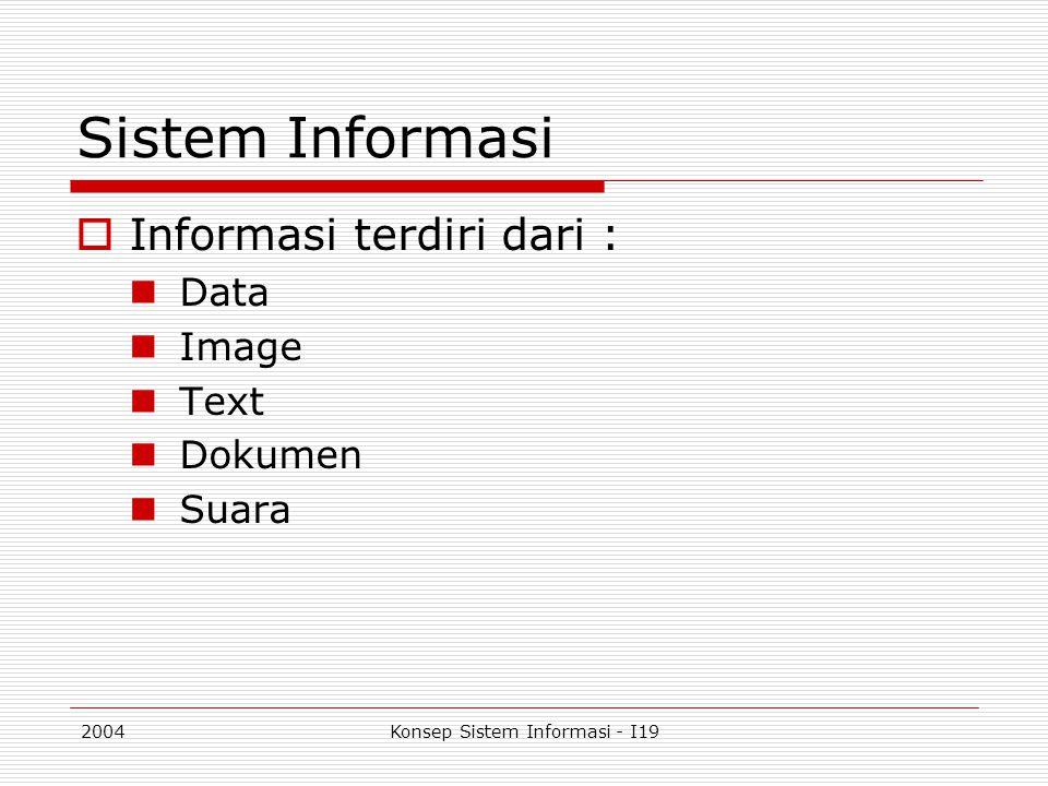 2004Konsep Sistem Informasi - I19 Input  Input data dapat dilakukan dalam dua cara: Batch Input  Transaksi data diakumulasikan (batch) dalam kurun waktu tertentu sebelum dimasukkan ke dalam sistem Data capture Filling form (paper form) Keying/scanning operation Direct Input  Transaksi data dimasukkan ke dalam sistem pada saat traksaksi tersebut berlangsung