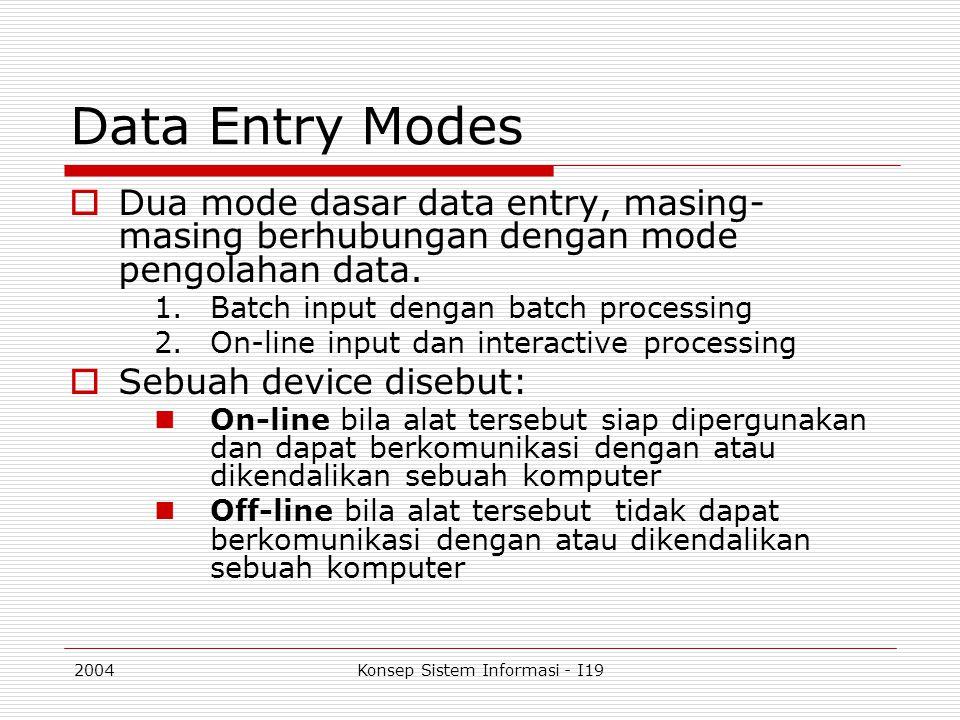2004Konsep Sistem Informasi - I19 Data Entry Modes  Dua mode dasar data entry, masing- masing berhubungan dengan mode pengolahan data. 1.Batch input