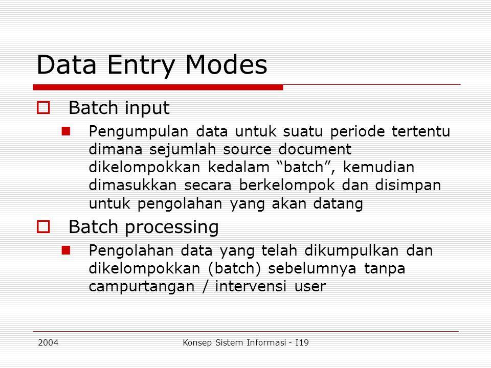 2004Konsep Sistem Informasi - I19 Data Entry Modes  Batch input Pengumpulan data untuk suatu periode tertentu dimana sejumlah source document dikelom