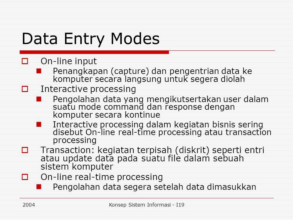 2004Konsep Sistem Informasi - I19 Data Entry Modes  On-line input Penangkapan (capture) dan pengentrian data ke komputer secara langsung untuk segera
