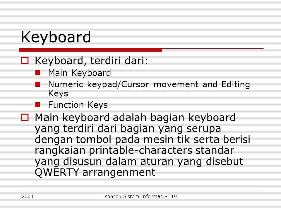 2004Konsep Sistem Informasi - I19 Keyboard  Keyboard, terdiri dari: Main Keyboard Numeric keypad/Cursor movement and Editing Keys Function Keys  Mai