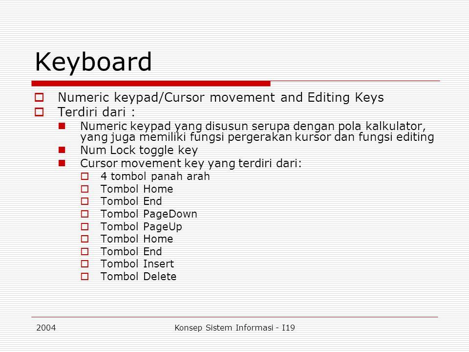 2004Konsep Sistem Informasi - I19 Keyboard  Numeric keypad/Cursor movement and Editing Keys  Terdiri dari : Numeric keypad yang disusun serupa denga