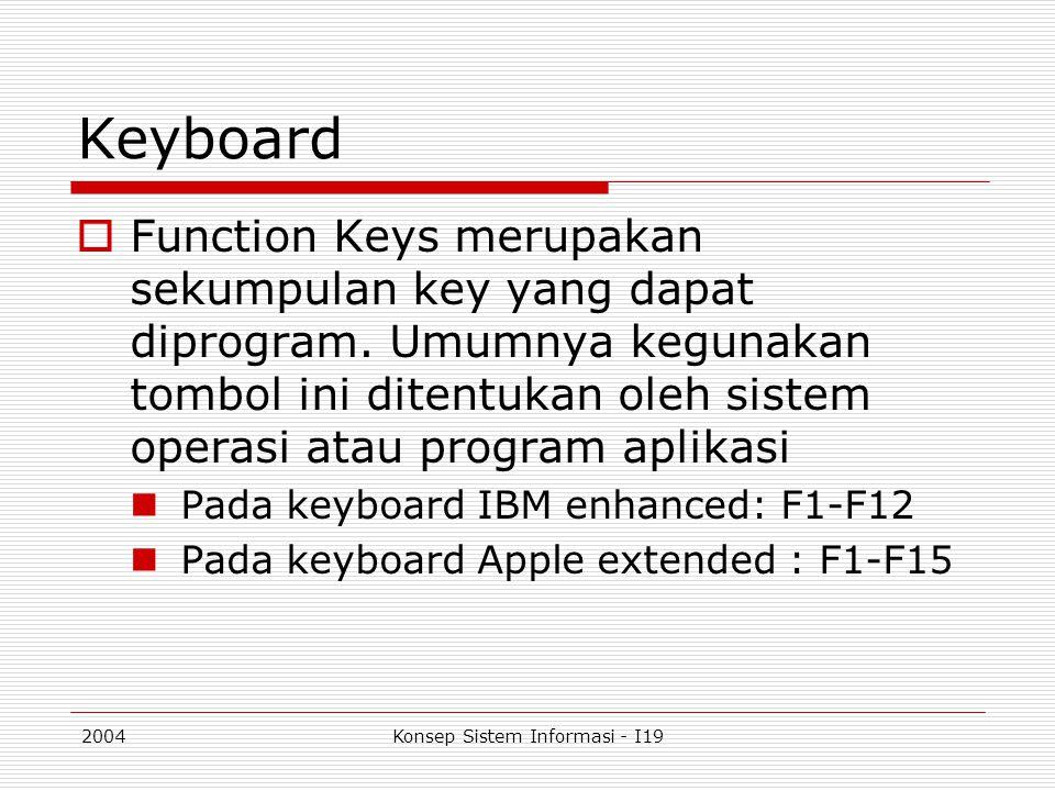 2004Konsep Sistem Informasi - I19 Keyboard  Function Keys merupakan sekumpulan key yang dapat diprogram. Umumnya kegunakan tombol ini ditentukan oleh