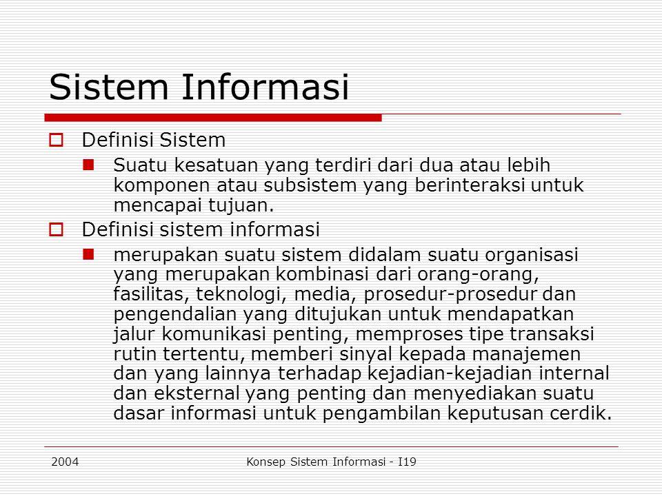 2004Konsep Sistem Informasi - I19 Input  Form digunakan sebagai alat untuk menyelesaikan pekerjaan dan memasukkan data ke dalam sistem  Fungsi dasar form yang diperlukan dalam analisis form: (Belden Menkus, Designing a Useful Form , Bussiness graphics, September 1972) To acknowledgeTo agree To applyTo authorize To cancelTo certify To claimTo estimate To follow upTo identify To instructTo notify To orderTo record To reportTo request To routeTo schedule