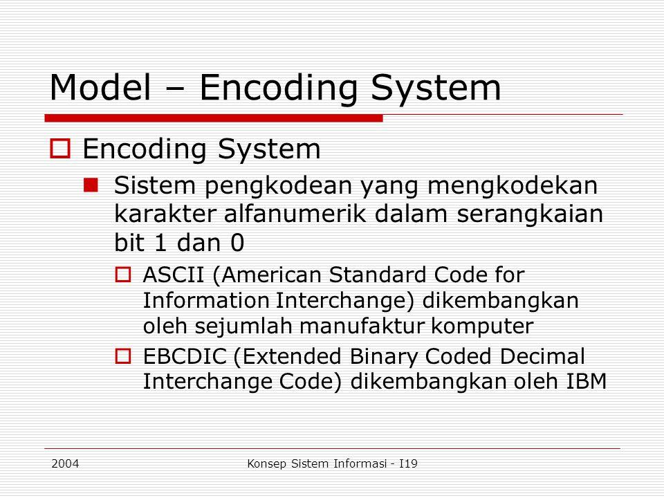 2004Konsep Sistem Informasi - I19 Model – Encoding System  Encoding System Sistem pengkodean yang mengkodekan karakter alfanumerik dalam serangkaian