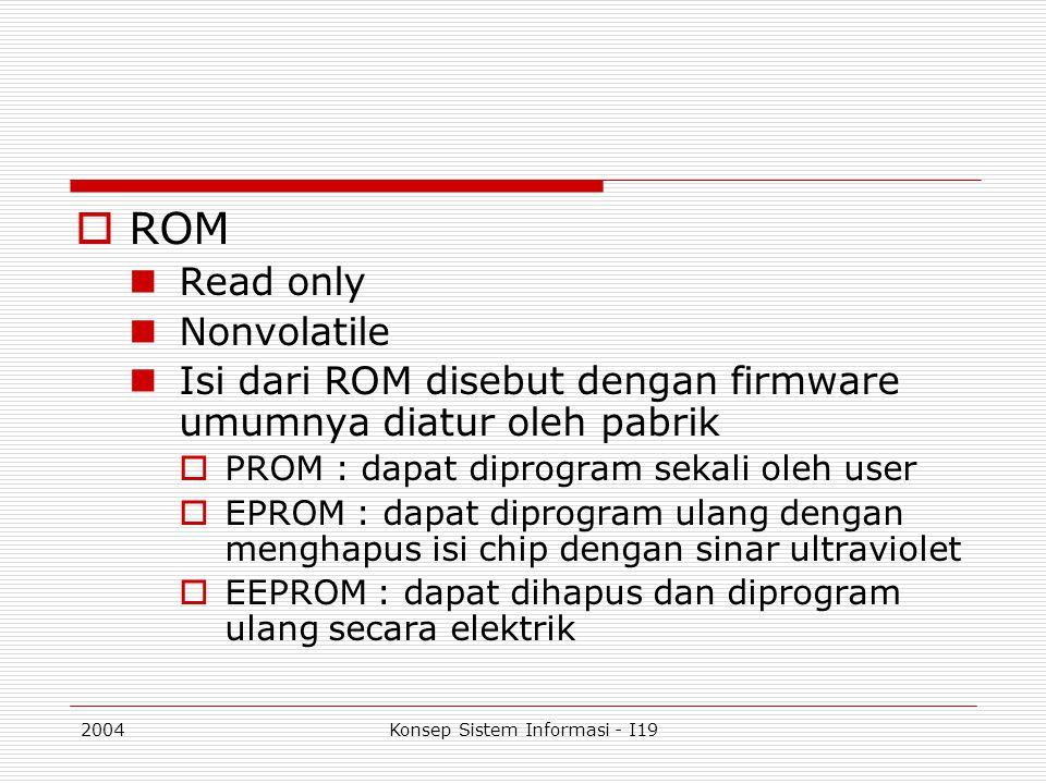 2004Konsep Sistem Informasi - I19  ROM Read only Nonvolatile Isi dari ROM disebut dengan firmware umumnya diatur oleh pabrik  PROM : dapat diprogram
