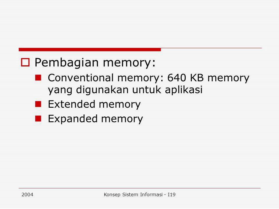 2004Konsep Sistem Informasi - I19  Pembagian memory: Conventional memory: 640 KB memory yang digunakan untuk aplikasi Extended memory Expanded memory