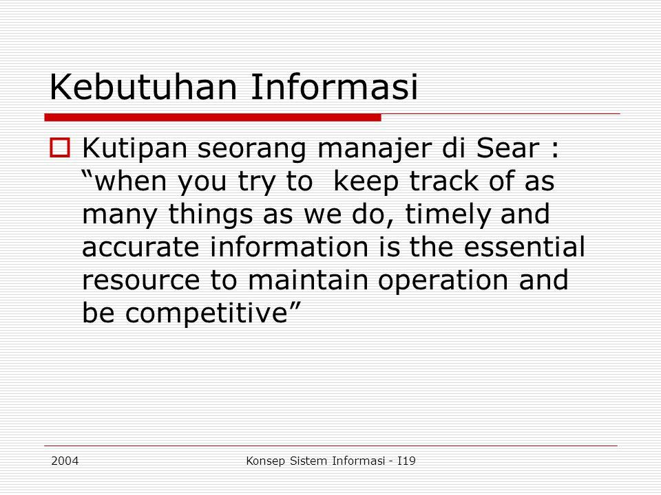 2004Konsep Sistem Informasi - I19 Atribut Informasi  Kualitas informasi tergantung sepenuhnya pada attribut informasi, selayaknya atap bersandar pada pilar penyangga Akurat (Accuracy) Tepat Waktu (Timelines) Relevan (Relevancy)