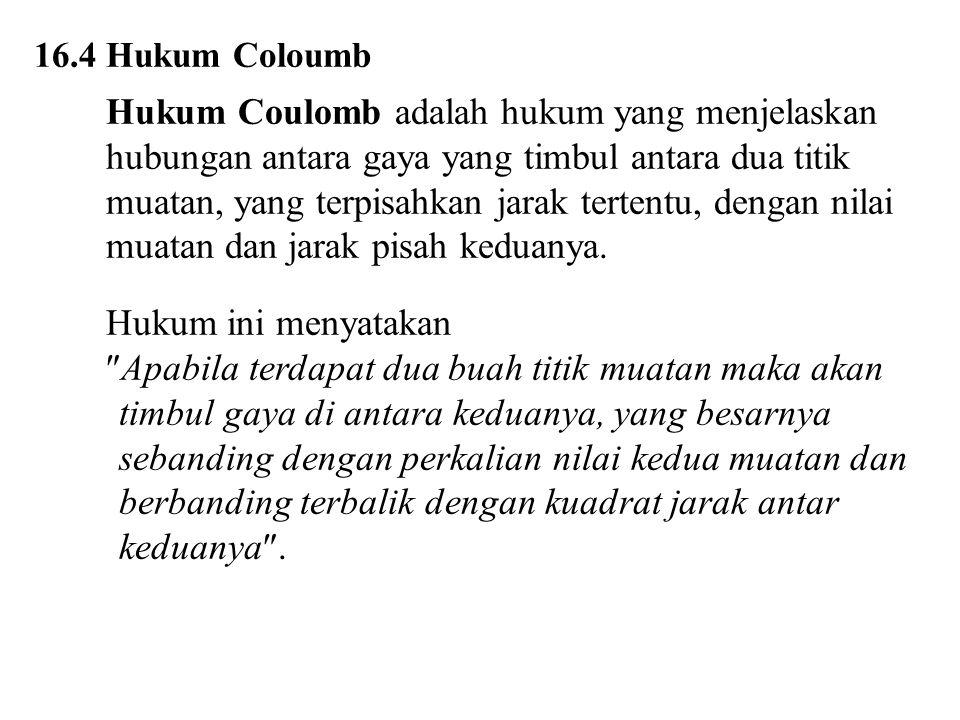 16.4 Hukum Coloumb Hukum Coulomb adalah hukum yang menjelaskan hubungan antara gaya yang timbul antara dua titik muatan, yang terpisahkan jarak tertentu, dengan nilai muatan dan jarak pisah keduanya.