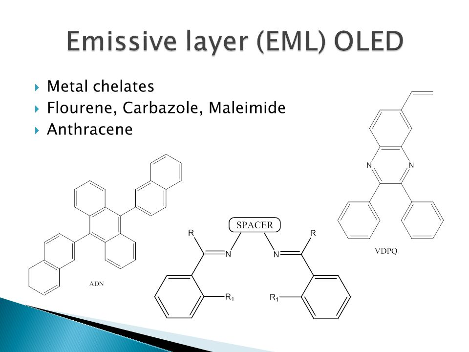  Metal chelates  Flourene, Carbazole, Maleimide  Anthracene