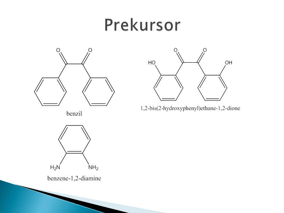 0,5000 g 1,2-diaminobenzene dilarutkan dalam 20 mL metanol (suhu kamar) diaduk sampai larut dan ditambah 1 gram benzil Larutan diaduk, dipanaskan dalam microwave selama 20 detik ditambah 1-2 tetes H 2 SO 4 pekat (pH ± 4-5) Larutan disaring dan dicuci sedikit metanol, tampung filtratnya