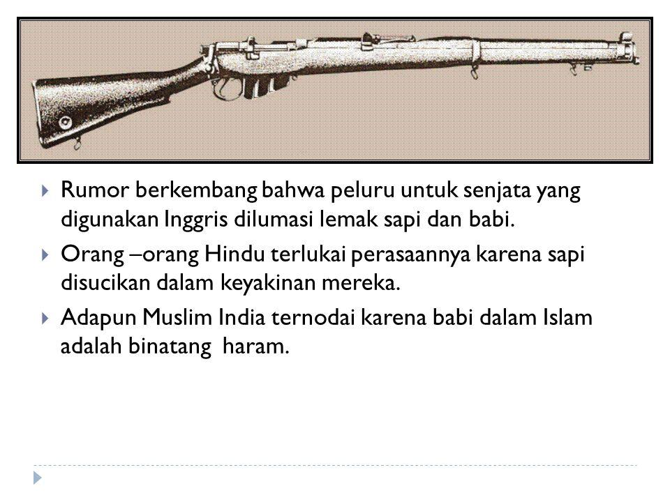  Rumor berkembang bahwa peluru untuk senjata yang digunakan Inggris dilumasi lemak sapi dan babi.  Orang –orang Hindu terlukai perasaannya karena sa