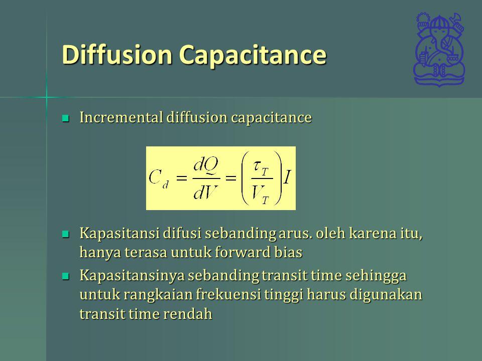 Diffusion Capacitance Incremental diffusion capacitance Incremental diffusion capacitance Kapasitansi difusi sebanding arus. oleh karena itu, hanya te