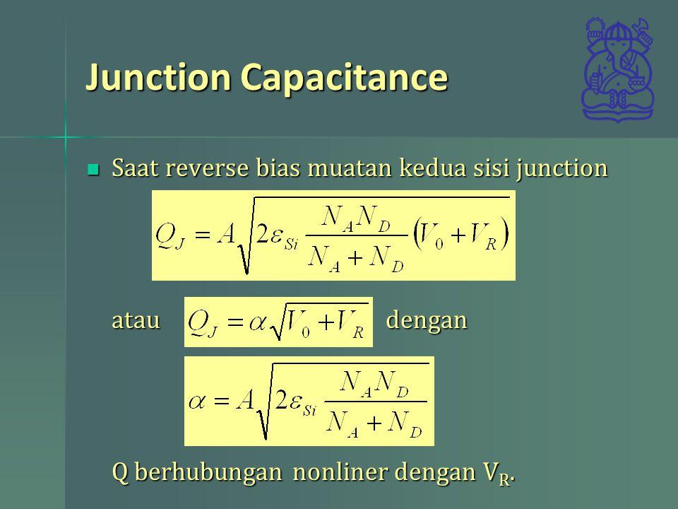 Junction Capacitance Saat reverse bias muatan kedua sisi junction Saat reverse bias muatan kedua sisi junction atau dengan Q berhubungan nonliner deng