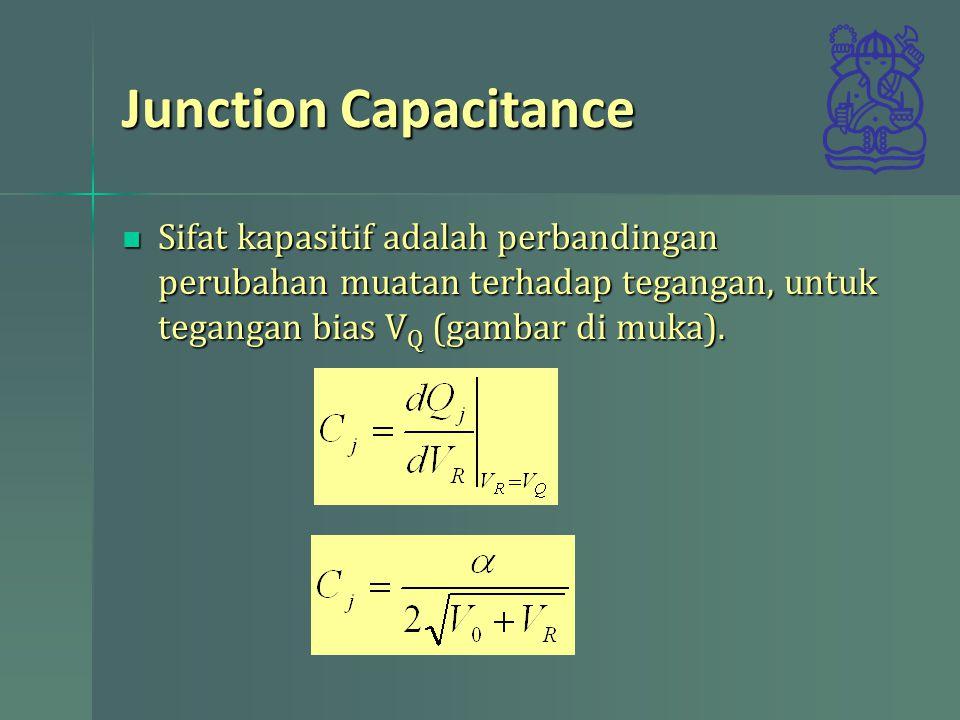 Junction Capacitance Sifat kapasitif adalah perbandingan perubahan muatan terhadap tegangan, untuk tegangan bias V Q (gambar di muka). Sifat kapasitif