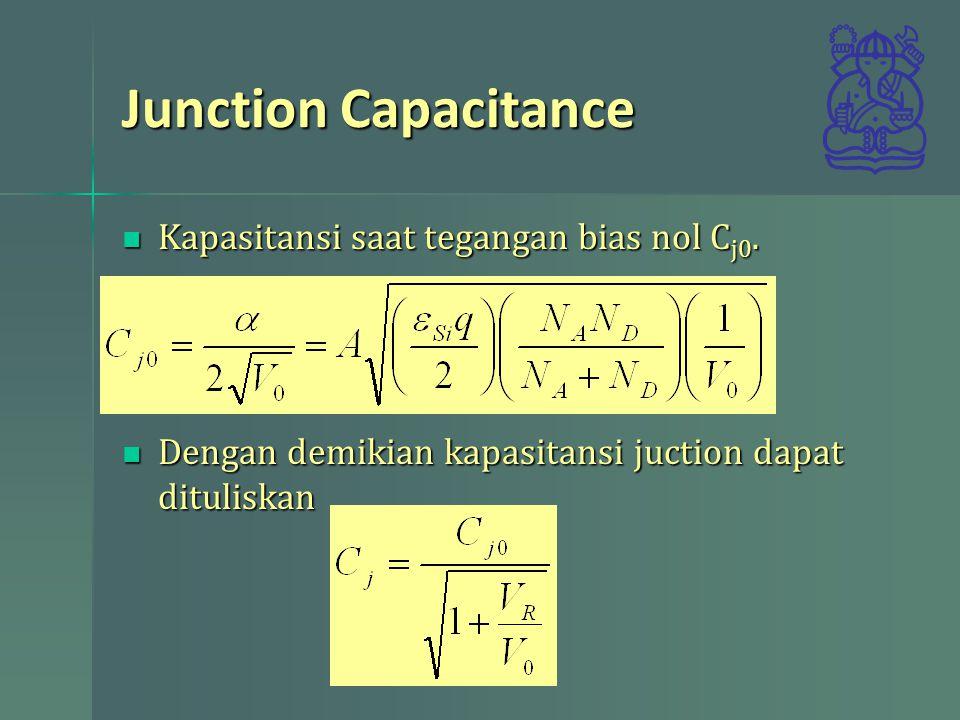 Junction Capacitance Kapasitansi saat tegangan bias nol C j0. Kapasitansi saat tegangan bias nol C j0. Dengan demikian kapasitansi juction dapat ditul