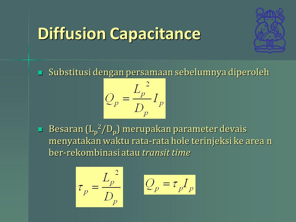Diffusion Capacitance Muatan minoritas elektron di area p Muatan minoritas elektron di area p Jumlah keseluruhan muatan Jumlah keseluruhan muatan Saat forward bias arus mengalir Saat forward bias arus mengalir Jumlah muatan dapat didekati dengan  T rata-rata waktu transit Jumlah muatan dapat didekati dengan  T rata-rata waktu transit