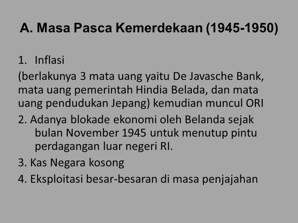 1.Inflasi (berlakunya 3 mata uang yaitu De Javasche Bank, mata uang pemerintah Hindia Belada, dan mata uang pendudukan Jepang) kemudian muncul ORI 2.