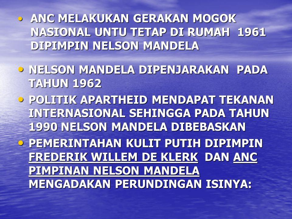 ANC MELAKUKAN GERAKAN MOGOK NASIONAL UNTU TETAP DI RUMAH 1961 DIPIMPIN NELSON MANDELAANC MELAKUKAN GERAKAN MOGOK NASIONAL UNTU TETAP DI RUMAH 1961 DIPIMPIN NELSON MANDELA NELSON MANDELA DIPENJARAKAN PADA TAHUN 1962 NELSON MANDELA DIPENJARAKAN PADA TAHUN 1962 POLITIK APARTHEID MENDAPAT TEKANAN INTERNASIONAL SEHINGGA PADA TAHUN 1990 NELSON MANDELA DIBEBASKAN POLITIK APARTHEID MENDAPAT TEKANAN INTERNASIONAL SEHINGGA PADA TAHUN 1990 NELSON MANDELA DIBEBASKAN PEMERINTAHAN KULIT PUTIH DIPIMPIN FREDERIK WILLEM DE KLERK DAN ANC PIMPINAN NELSON MANDELA MENGADAKAN PERUNDINGAN ISINYA: PEMERINTAHAN KULIT PUTIH DIPIMPIN FREDERIK WILLEM DE KLERK DAN ANC PIMPINAN NELSON MANDELA MENGADAKAN PERUNDINGAN ISINYA: