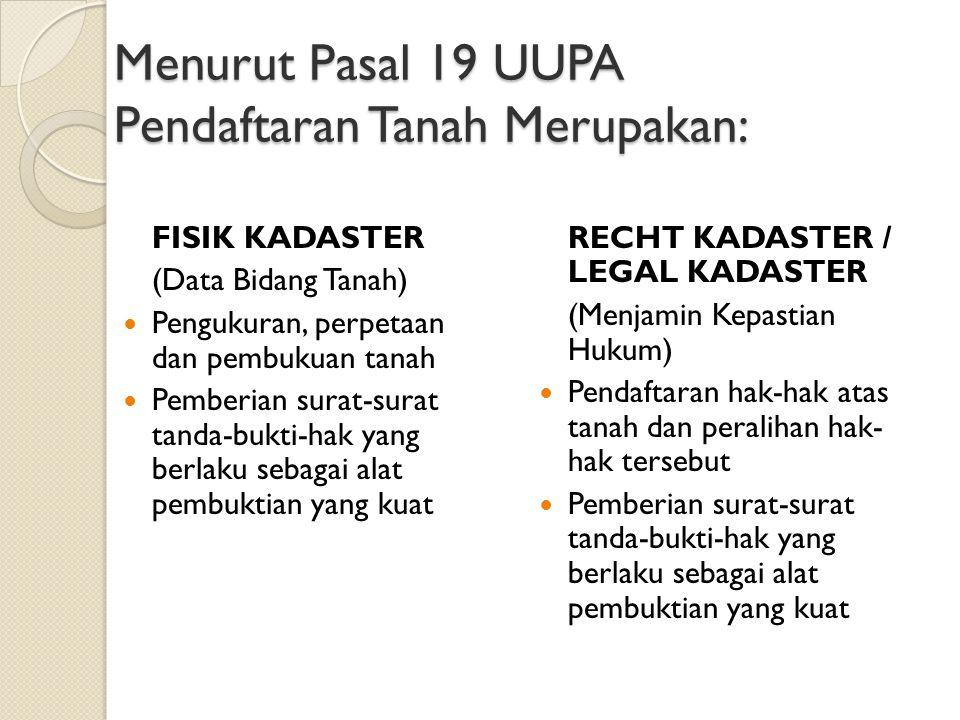 Menurut Pasal 19 UUPA Pendaftaran Tanah Merupakan: FISIK KADASTER (Data Bidang Tanah) Pengukuran, perpetaan dan pembukuan tanah Pemberian surat-surat