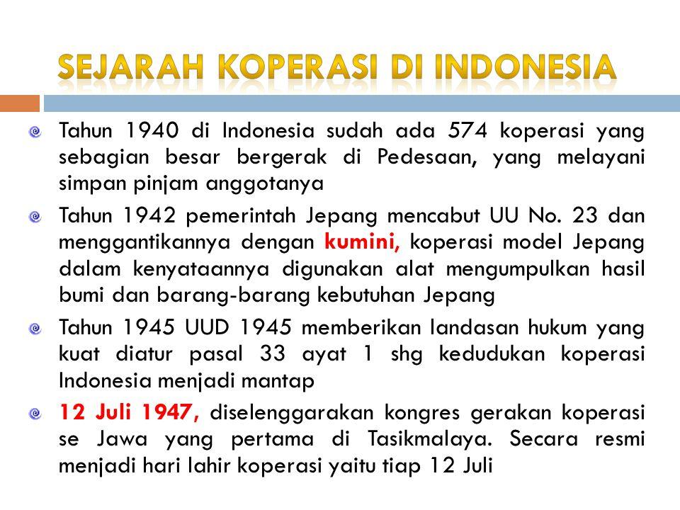 Tahun 1940 di Indonesia sudah ada 574 koperasi yang sebagian besar bergerak di Pedesaan, yang melayani simpan pinjam anggotanya Tahun 1942 pemerintah