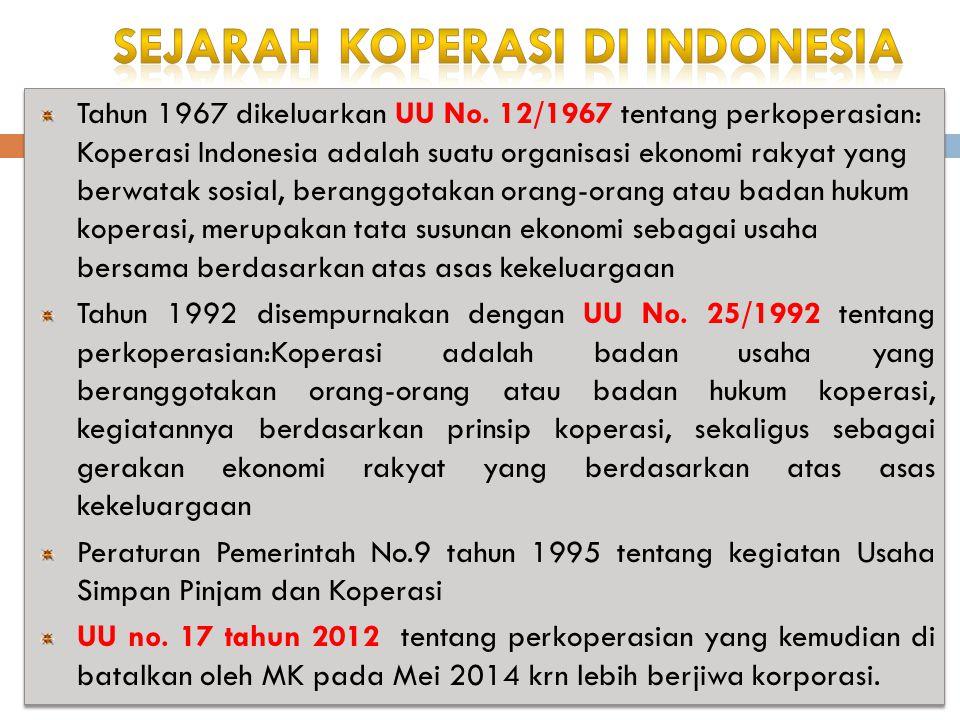 Tahun 1967 dikeluarkan UU No. 12/1967 tentang perkoperasian: Koperasi Indonesia adalah suatu organisasi ekonomi rakyat yang berwatak sosial, beranggot