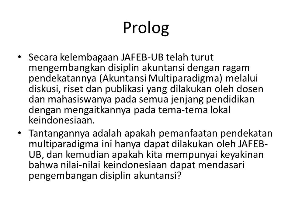 Prolog Secara kelembagaan JAFEB-UB telah turut mengembangkan disiplin akuntansi dengan ragam pendekatannya (Akuntansi Multiparadigma) melalui diskusi,
