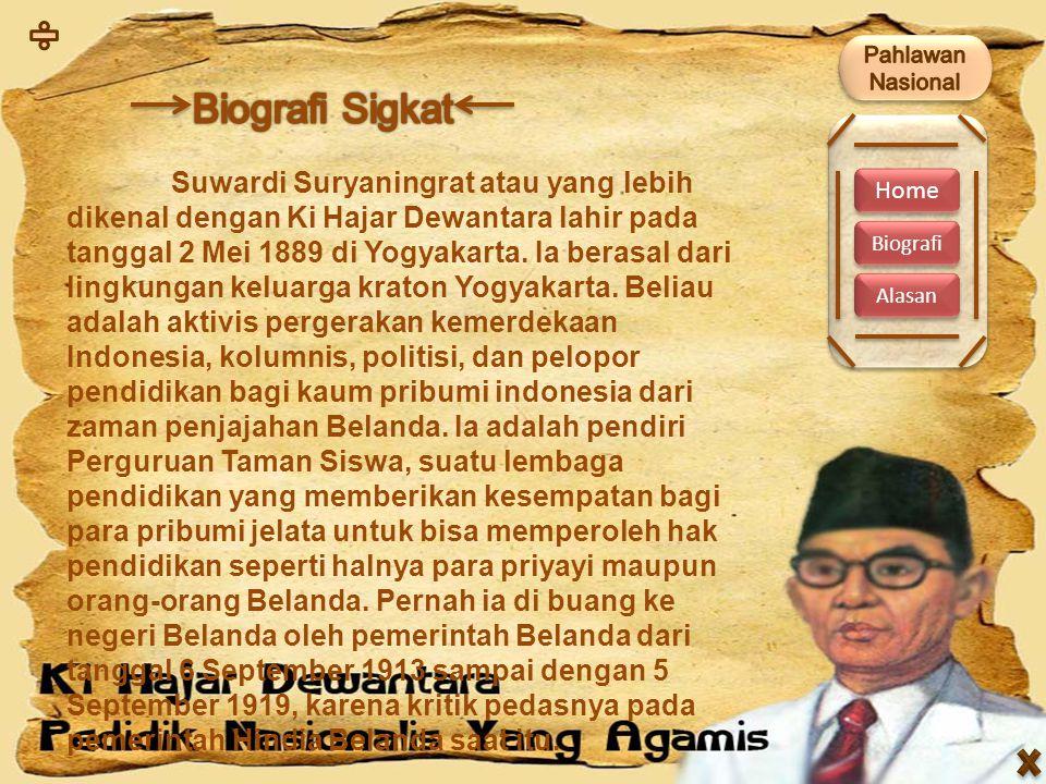 Home Biografi Alasan Suwardi Suryaningrat atau yang lebih dikenal dengan Ki Hajar Dewantara lahir pada tanggal 2 Mei 1889 di Yogyakarta. Ia berasal da