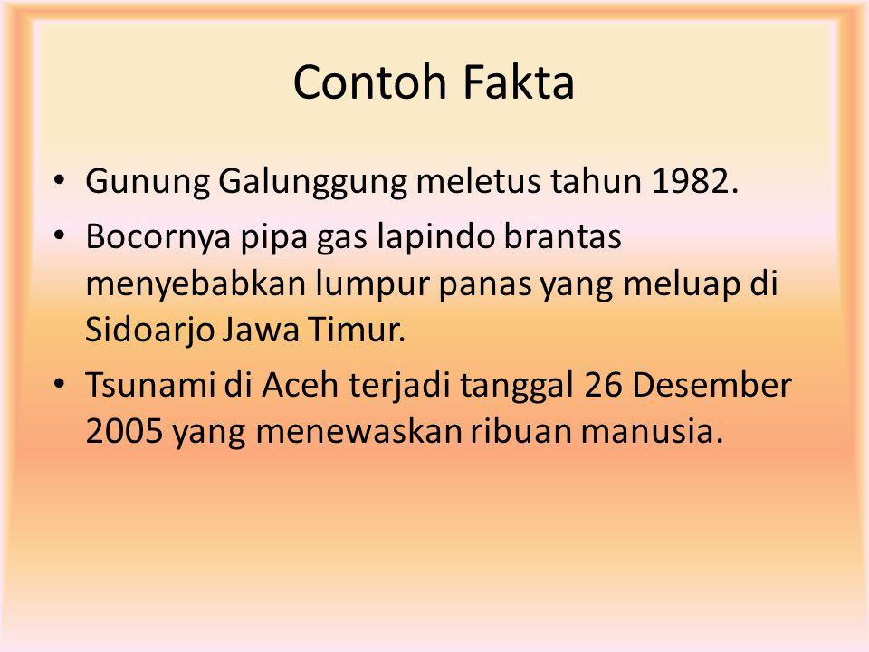 Contoh Fakta Gunung Galunggung meletus tahun 1982. Bocornya pipa gas lapindo brantas menyebabkan lumpur panas yang meluap di Sidoarjo Jawa Timur. Tsun